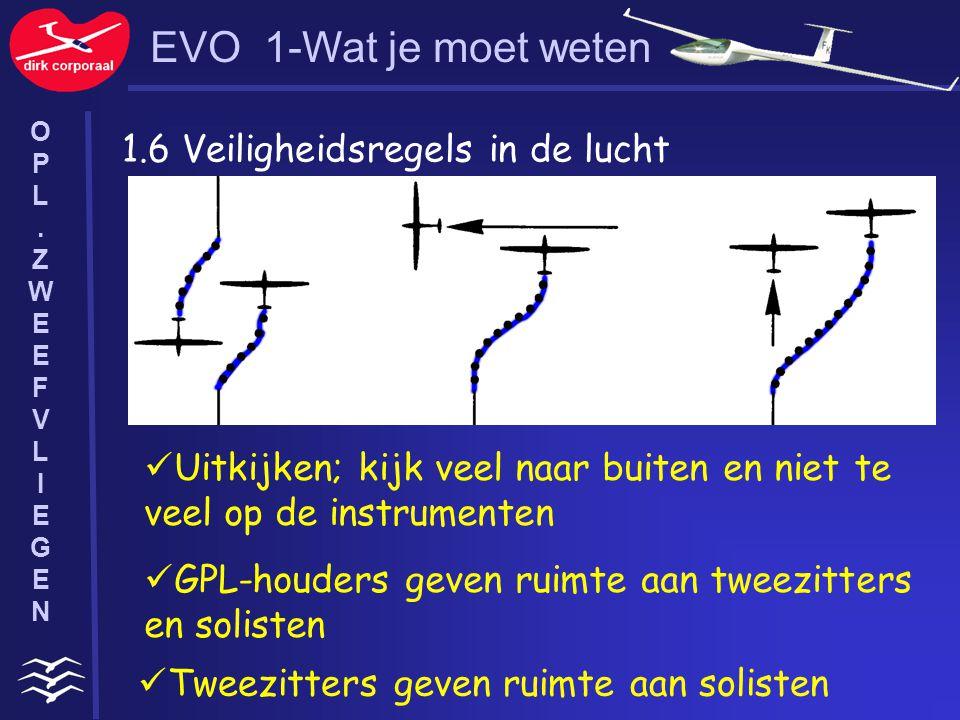 1.6 Veiligheidsregels in de lucht Uitkijken; kijk veel naar buiten en niet te veel op de instrumenten GPL-houders geven ruimte aan tweezitters en soli