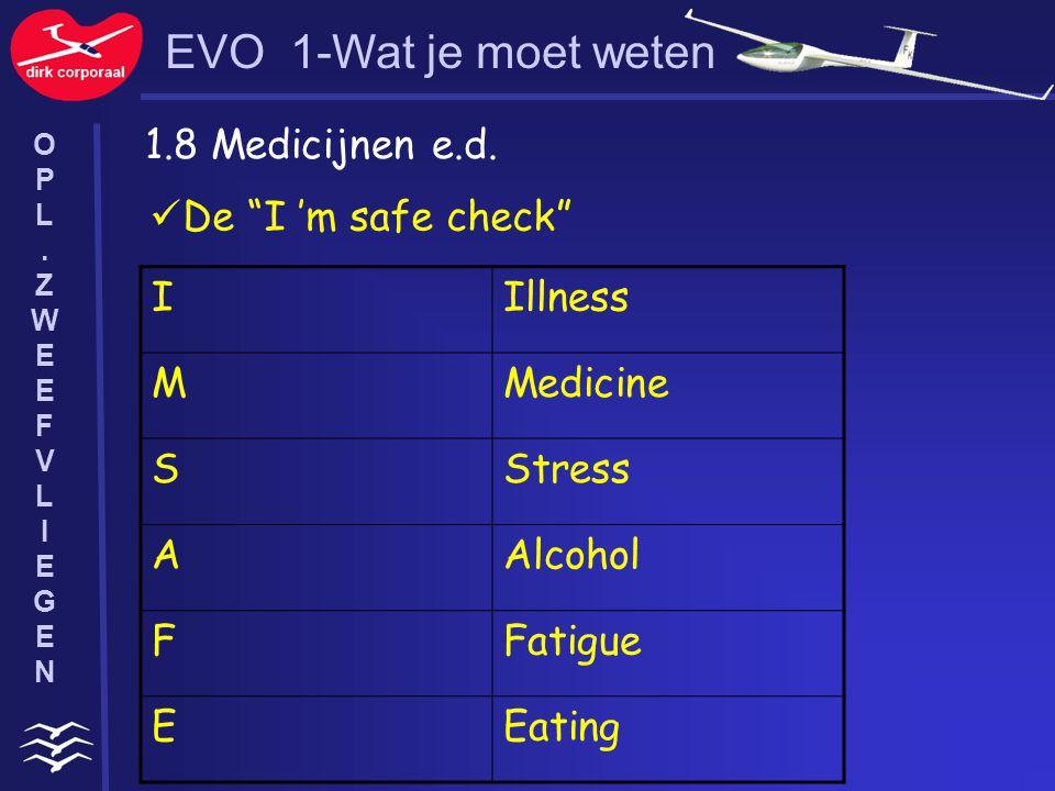 """1.8 Medicijnen e.d. IIllness MMedicine SStress AAlcohol FFatigue EEating De """"I 'm safe check"""" EVO 1-Wat je moet weten OPL.ZWEEFVLIEGENOPL.ZWEEFVLIEGEN"""