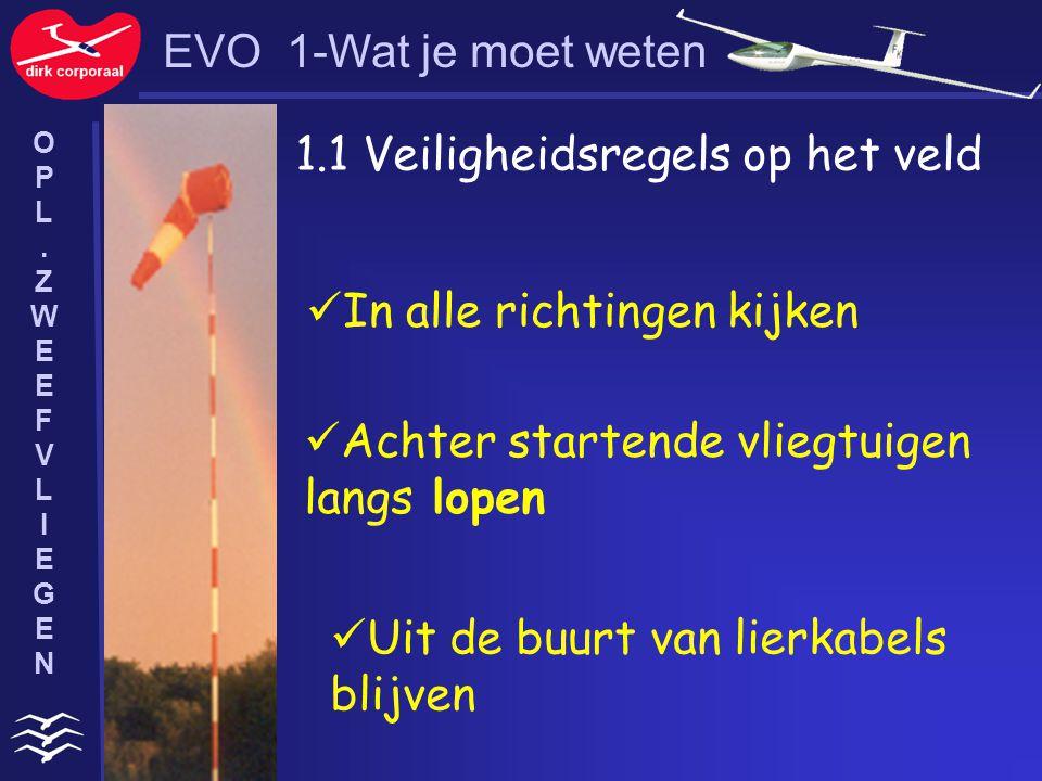 1.1 Veiligheidsregels op het veld In alle richtingen kijken Achter startende vliegtuigen langs lopen Uit de buurt van lierkabels blijven EVO 1-Wat je