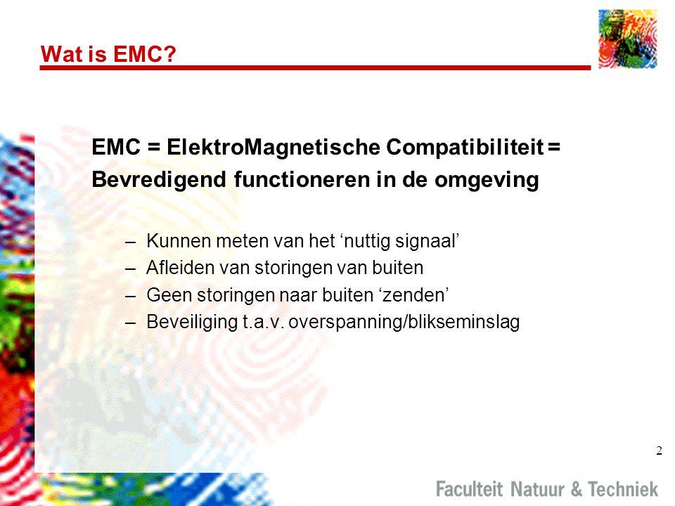 2 Wat is EMC? EMC = ElektroMagnetische Compatibiliteit = Bevredigend functioneren in de omgeving –Kunnen meten van het 'nuttig signaal' –Afleiden van