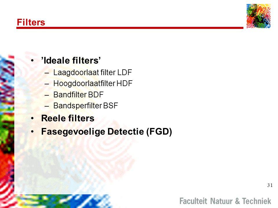 31 Filters 'Ideale filters' –Laagdoorlaat filter LDF –Hoogdoorlaatfilter HDF –Bandfilter BDF –Bandsperfilter BSF Reele filters Fasegevoelige Detectie