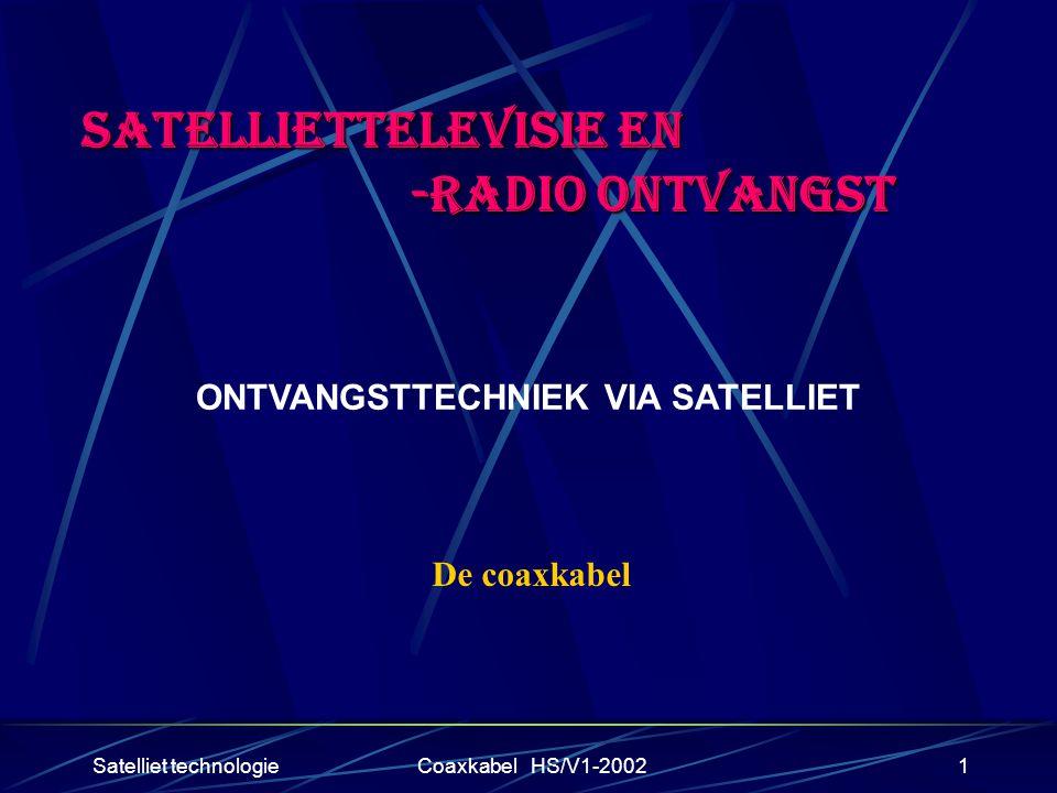 Satelliet technologieCoaxkabel HS/V1-20021 SATELLIETTELEVISIE EN -RADIO ONTVANGST -RADIO ONTVANGST ONTVANGSTTECHNIEK VIA SATELLIET De coaxkabel