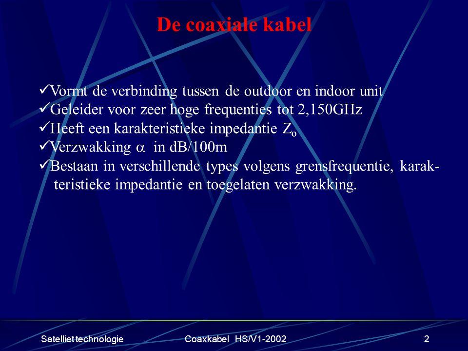 Satelliet technologieCoaxkabel HS/V1-20022 De coaxiale kabel Vormt de verbinding tussen de outdoor en indoor unit Geleider voor zeer hoge frequenties tot 2,150GHz Heeft een karakteristieke impedantie Z o Verzwakking  in dB/100m Bestaan in verschillende types volgens grensfrequentie, karak- teristieke impedantie en toegelaten verzwakking.