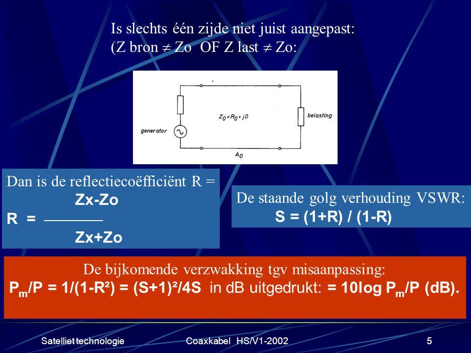 Satelliet technologieCoaxkabel HS/V1-20025 Is slechts één zijde niet juist aangepast: (Z bron  Zo OF Z last  Zo: Dan is de reflectiecoëfficiënt R = Zx-Zo R = __________ Zx+Zo De staande golg verhouding VSWR: S = (1+R) / (1-R) De bijkomende verzwakking tgv misaanpassing: P m /P = 1/(1-R²) = (S+1)²/4S in dB uitgedrukt: = 10log P m /P (dB).