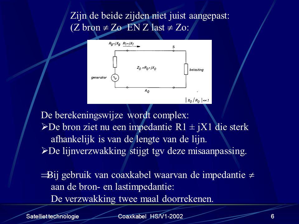 Satelliet technologieCoaxkabel HS/V1-20026 Zijn de beide zijden niet juist aangepast: (Z bron  Zo EN Z last  Zo: De berekeningswijze wordt complex:  De bron ziet nu een impedantie R1 ± jX1 die sterk afhankelijk is van de lengte van de lijn.