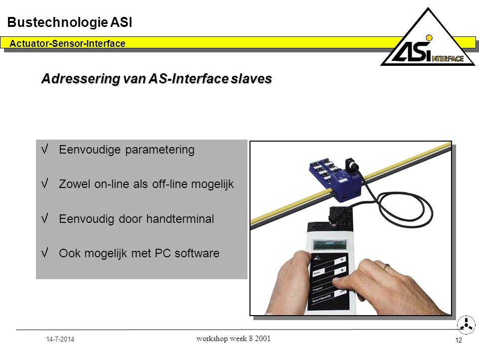 14-7-2014 Actuator-Sensor-Interface 12 Bustechnologie ASI workshop week 8 2001  Eenvoudige parametering  Zowel on-line als off-line mogelijk  Eenvo