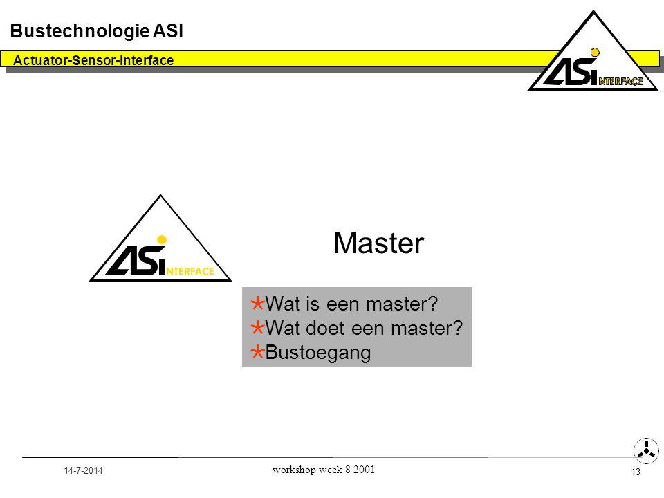 14-7-2014 Actuator-Sensor-Interface 13 Bustechnologie ASI workshop week 8 2001 Master  Wat is een master?  Wat doet een master?  Bustoegang