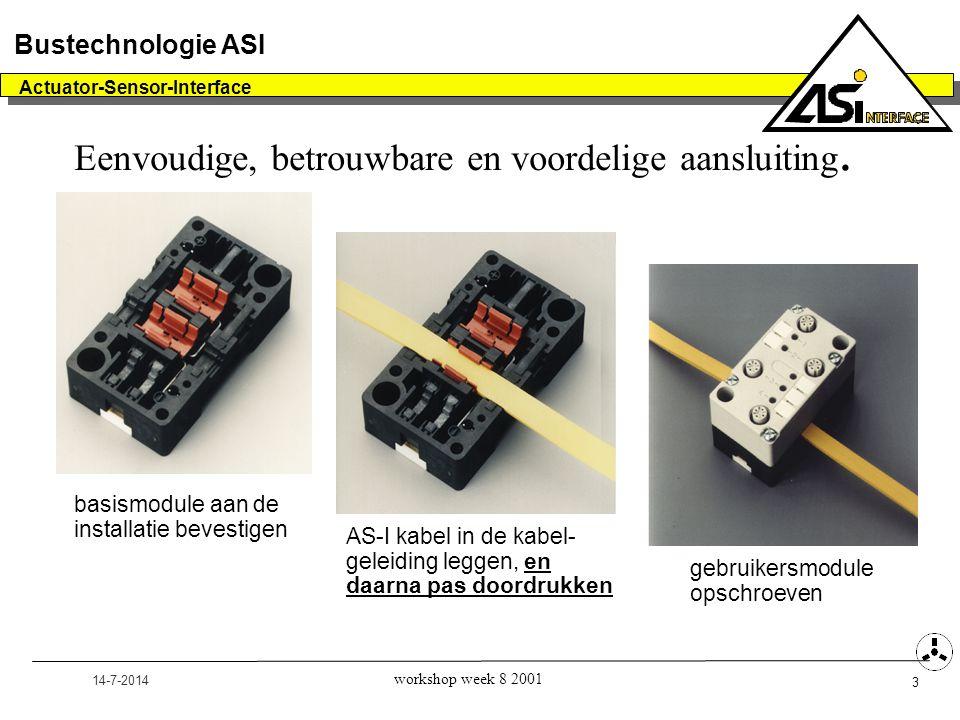 14-7-2014 Actuator-Sensor-Interface 4 Bustechnologie ASI workshop week 8 2001 De AS-I kabel  Speciaal profiel kabel -Twee aderig (bruin+, blauw -) -Niet afgeschermd -Voert netwerksignaal en 30V voeding  Rondkabel mag ook  Zwarte kabel voor extra stroomvoorziening (24V)