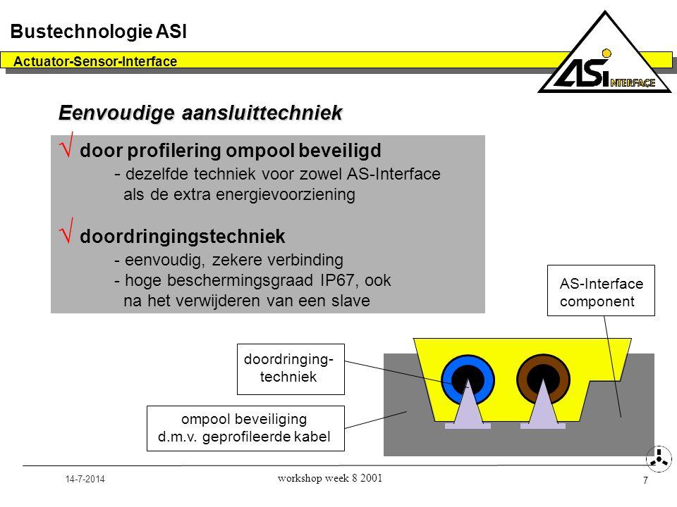 14-7-2014 Actuator-Sensor-Interface 7 Bustechnologie ASI workshop week 8 2001 Eenvoudige aansluittechniek  door profilering ompool beveiligd - dezelf
