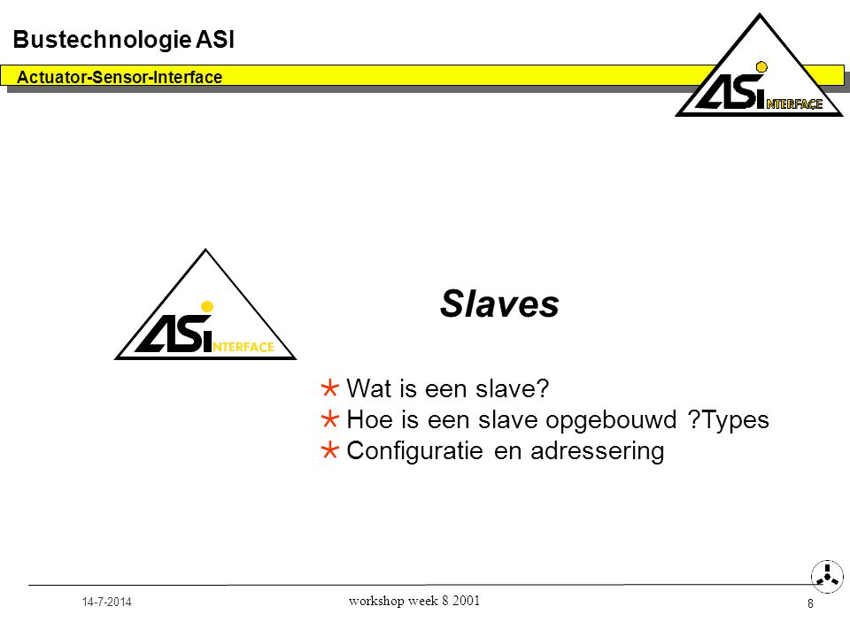 14-7-2014 Actuator-Sensor-Interface 8 Bustechnologie ASI workshop week 8 2001 Slaves  Wat is een slave.