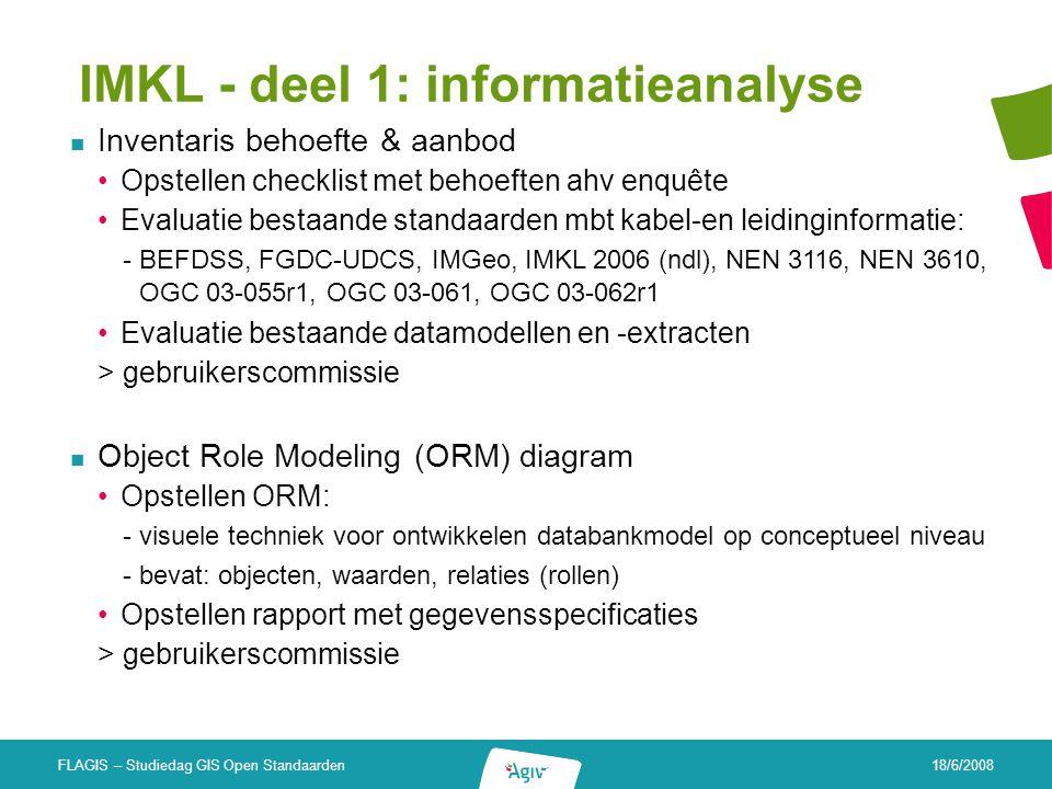 18/6/2008 FLAGIS – Studiedag GIS Open Standaarden IMKL - deel 1: informatieanalyse Inventaris behoefte & aanbod Opstellen checklist met behoeften ahv