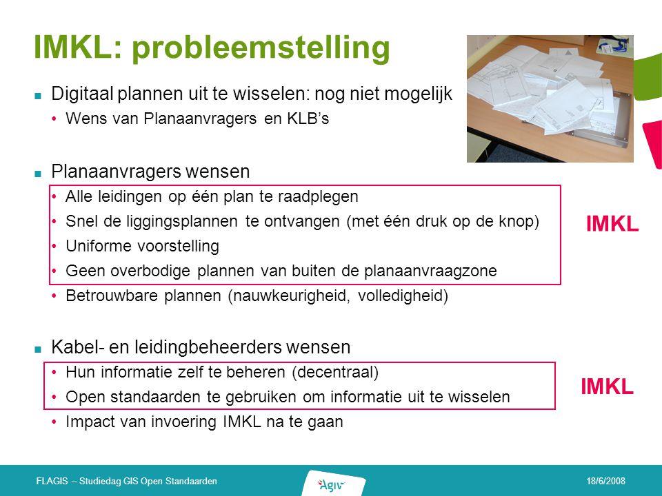 18/6/2008 FLAGIS – Studiedag GIS Open Standaarden IMKL: probleemstelling Digitaal plannen uit te wisselen: nog niet mogelijk Wens van Planaanvragers e
