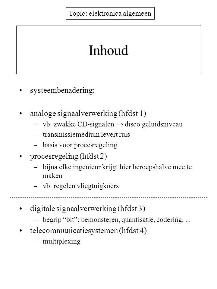 Topic: elektronica algemeen Inhoud systeembenadering: analoge signaalverwerking (hfdst 1) –vb.