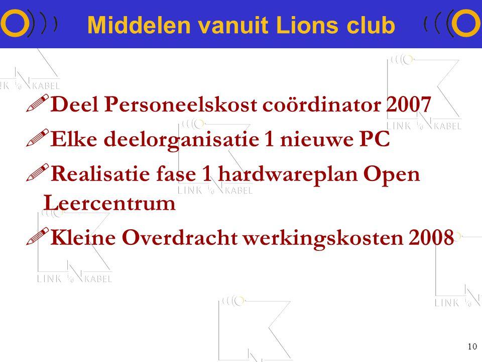 10 Middelen vanuit Lions club !Deel Personeelskost coördinator 2007 !Elke deelorganisatie 1 nieuwe PC !Realisatie fase 1 hardwareplan Open Leercentrum !Kleine Overdracht werkingskosten 2008