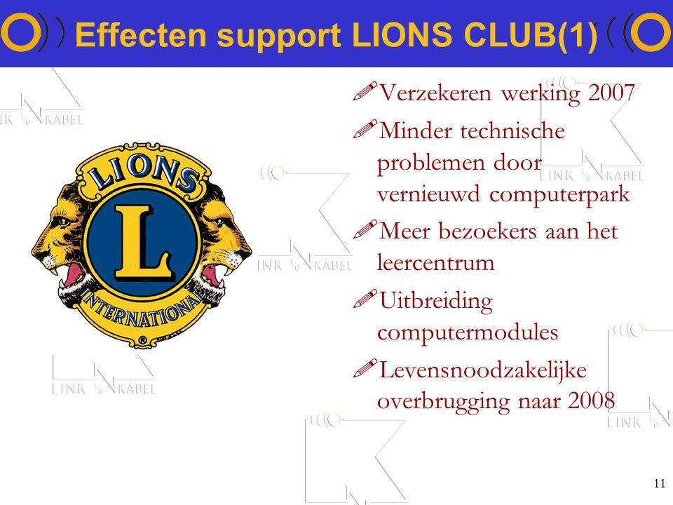 11 Effecten support LIONS CLUB(1) !Verzekeren werking 2007 !Minder technische problemen door vernieuwd computerpark !Meer bezoekers aan het leercentrum !Uitbreiding computermodules !Levensnoodzakelijke overbrugging naar 2008