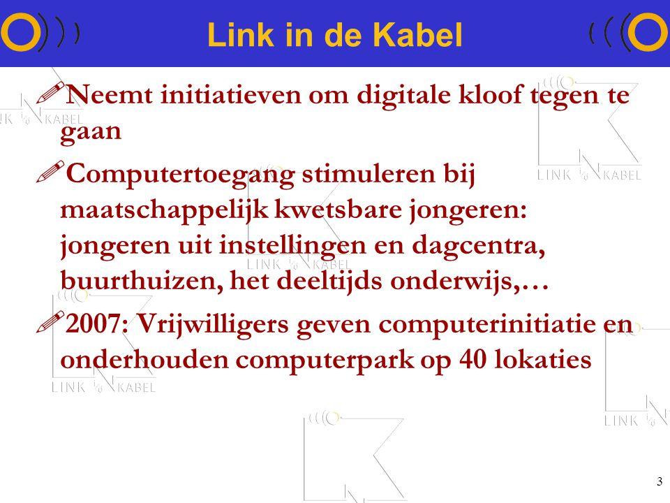 3 Link in de Kabel !Neemt initiatieven om digitale kloof tegen te gaan !Computertoegang stimuleren bij maatschappelijk kwetsbare jongeren: jongeren uit instellingen en dagcentra, buurthuizen, het deeltijds onderwijs,… !2007: Vrijwilligers geven computerinitiatie en onderhouden computerpark op 40 lokaties