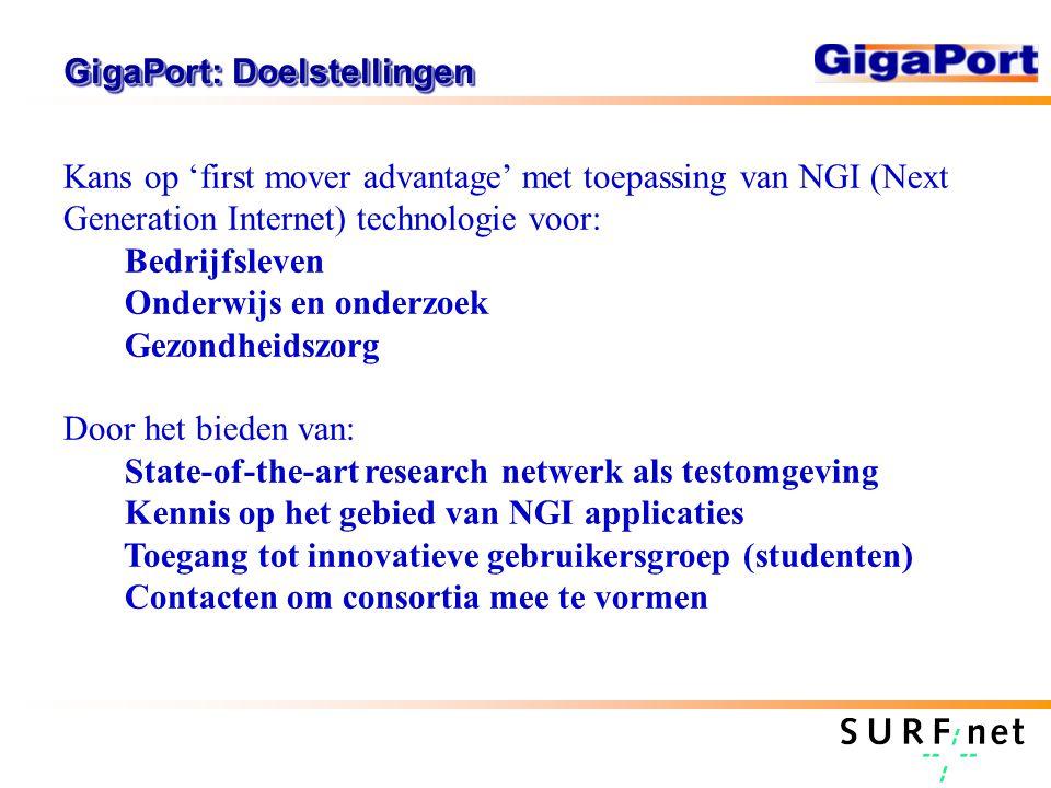 GigaPort: Doelstellingen Kans op 'first mover advantage' met toepassing van NGI (Next Generation Internet) technologie voor: Bedrijfsleven Onderwijs e