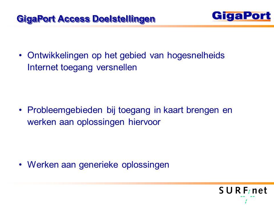 GigaPort Access Doelstellingen Ontwikkelingen op het gebied van hogesnelheids Internet toegang versnellen Probleemgebieden bij toegang in kaart brenge