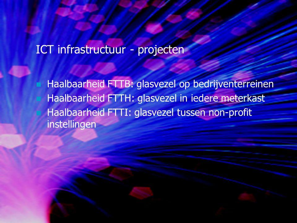 ICT infrastructuur - projecten Haalbaarheid FTTB: glasvezel op bedrijventerreinen Haalbaarheid FTTH: glasvezel in iedere meterkast Haalbaarheid FTTI: glasvezel tussen non-profit instellingen