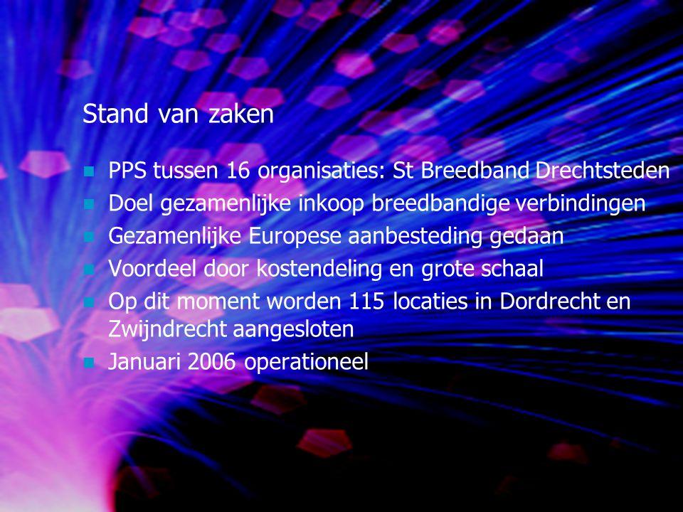 Stand van zaken PPS tussen 16 organisaties: St Breedband Drechtsteden Doel gezamenlijke inkoop breedbandige verbindingen Gezamenlijke Europese aanbesteding gedaan Voordeel door kostendeling en grote schaal Op dit moment worden 115 locaties in Dordrecht en Zwijndrecht aangesloten Januari 2006 operationeel