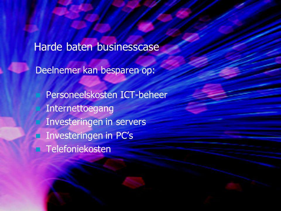 Harde baten businesscase Deelnemer kan besparen op: Personeelskosten ICT-beheer Internettoegang Investeringen in servers Investeringen in PC's Telefoniekosten