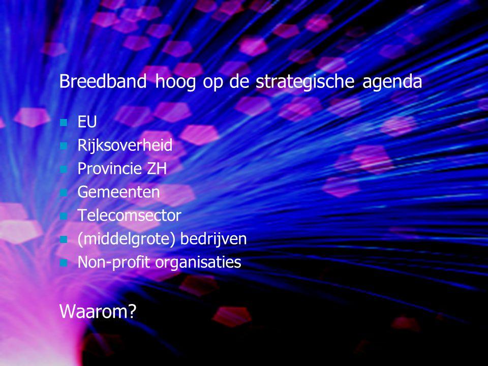Breedband hoog op de strategische agenda EU Rijksoverheid Provincie ZH Gemeenten Telecomsector (middelgrote) bedrijven Non-profit organisaties Waarom?
