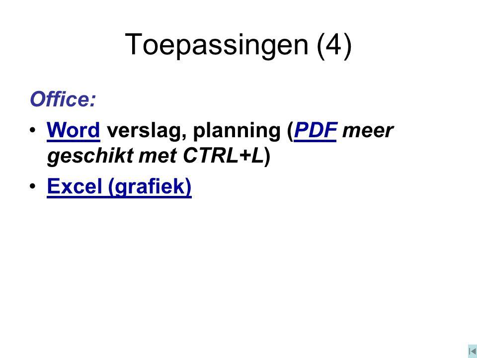Toepassingen (4) Office: Word verslag, planning (PDF meer geschikt met CTRL+L)WordPDF Excel (grafiek)