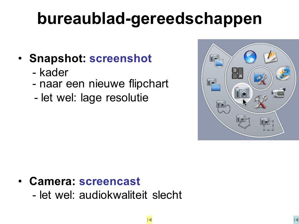 bureaublad-gereedschappen Snapshot: screenshot - kader - naar een nieuwe flipchart - let wel: lage resolutie Camera: screencast - let wel: audiokwalit