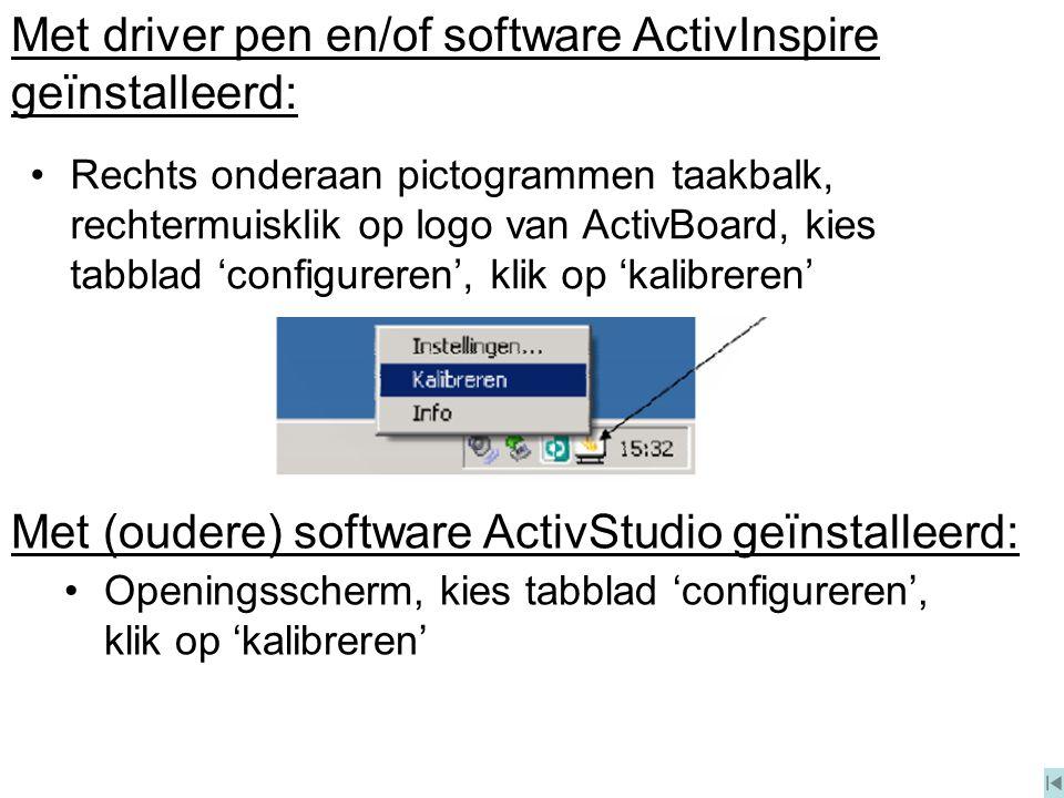 Openingsscherm, kies tabblad 'configureren', klik op 'kalibreren' Met driver pen en/of software ActivInspire geïnstalleerd: Met (oudere) software Acti