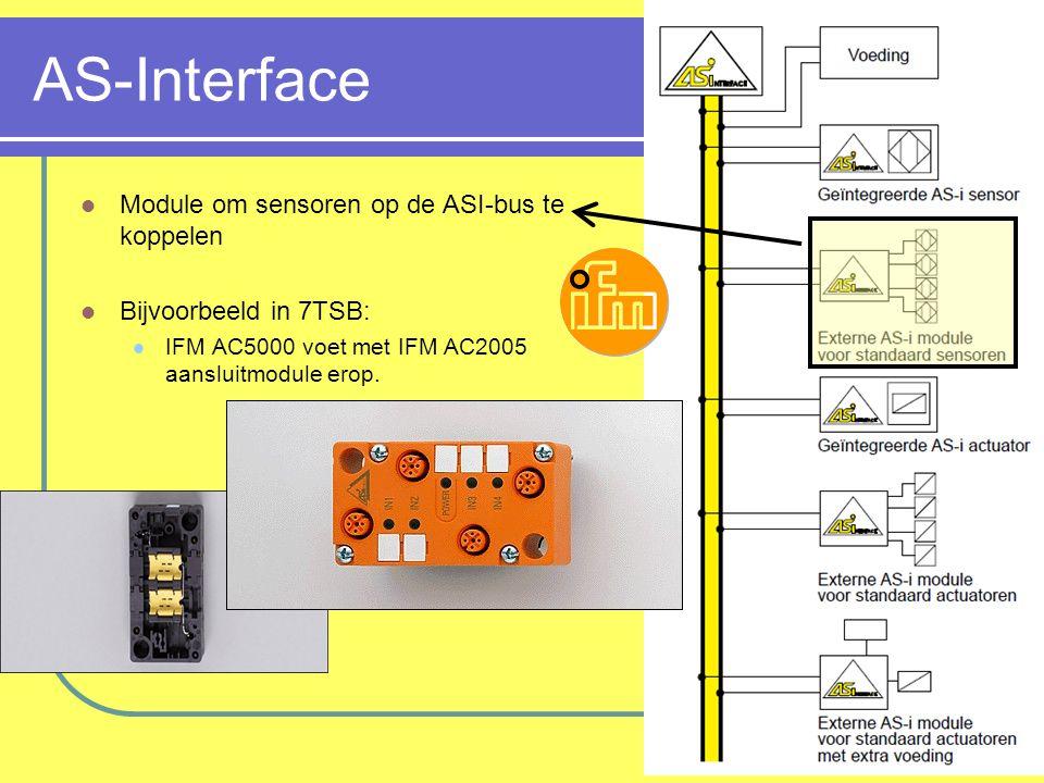 AS-Interface Module om sensoren op de ASI-bus te koppelen Bijvoorbeeld in 7TSB: IFM AC5000 voet met IFM AC2005 aansluitmodule erop.