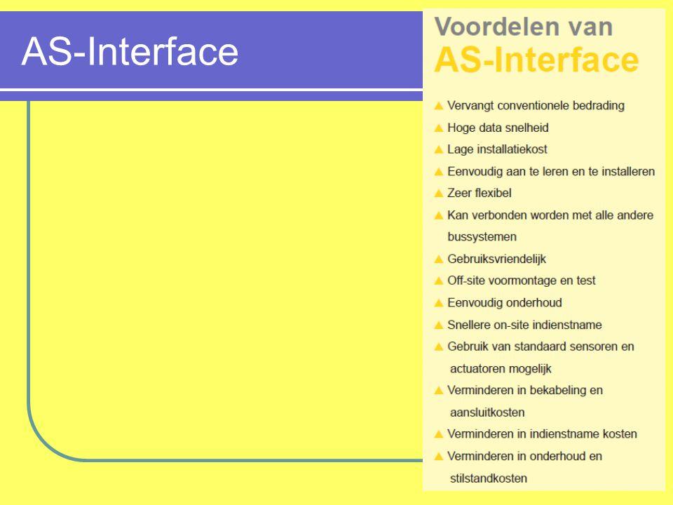 AS-Interface: résumé Communicatie: Master-Slave Topologie: alles Merken: Verschillende, allemaal koppelbaar Type bus Sensorbus