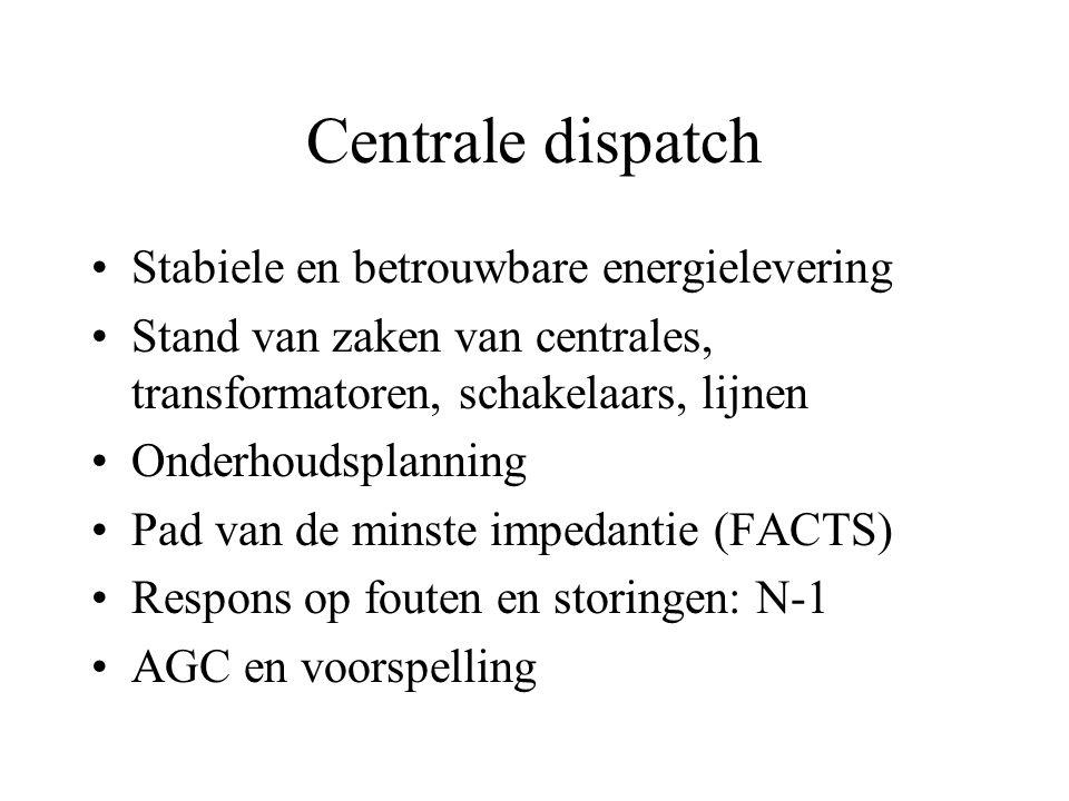 Centrale dispatch Stabiele en betrouwbare energielevering Stand van zaken van centrales, transformatoren, schakelaars, lijnen Onderhoudsplanning Pad van de minste impedantie (FACTS) Respons op fouten en storingen: N-1 AGC en voorspelling