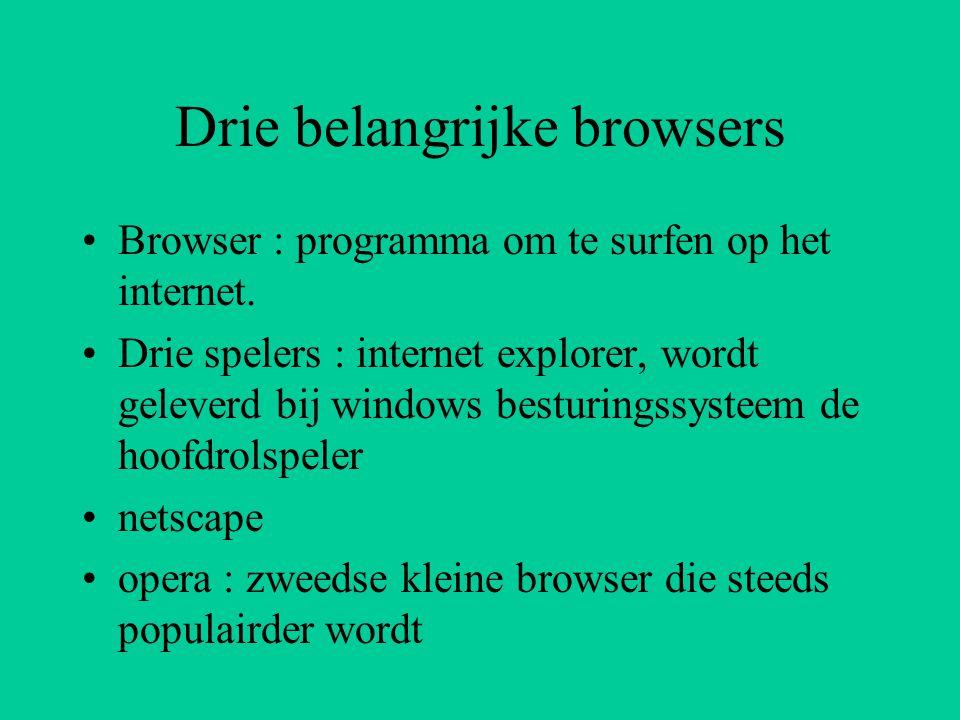 Drie belangrijke browsers Browser : programma om te surfen op het internet.
