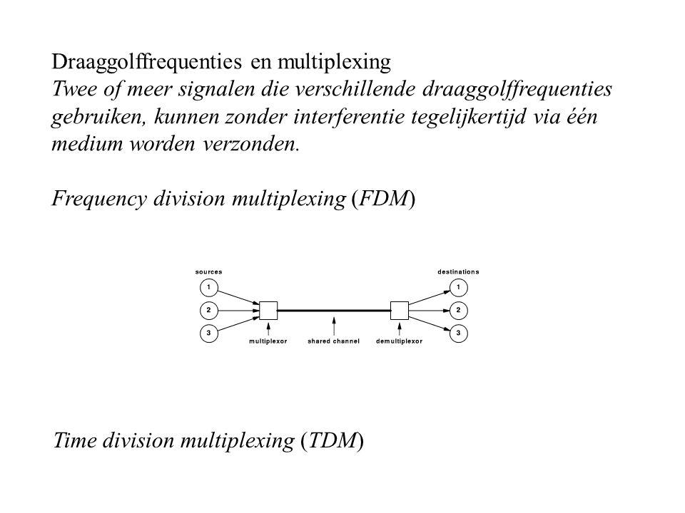 Draaggolffrequenties en multiplexing Twee of meer signalen die verschillende draaggolffrequenties gebruiken, kunnen zonder interferentie tegelijkertij