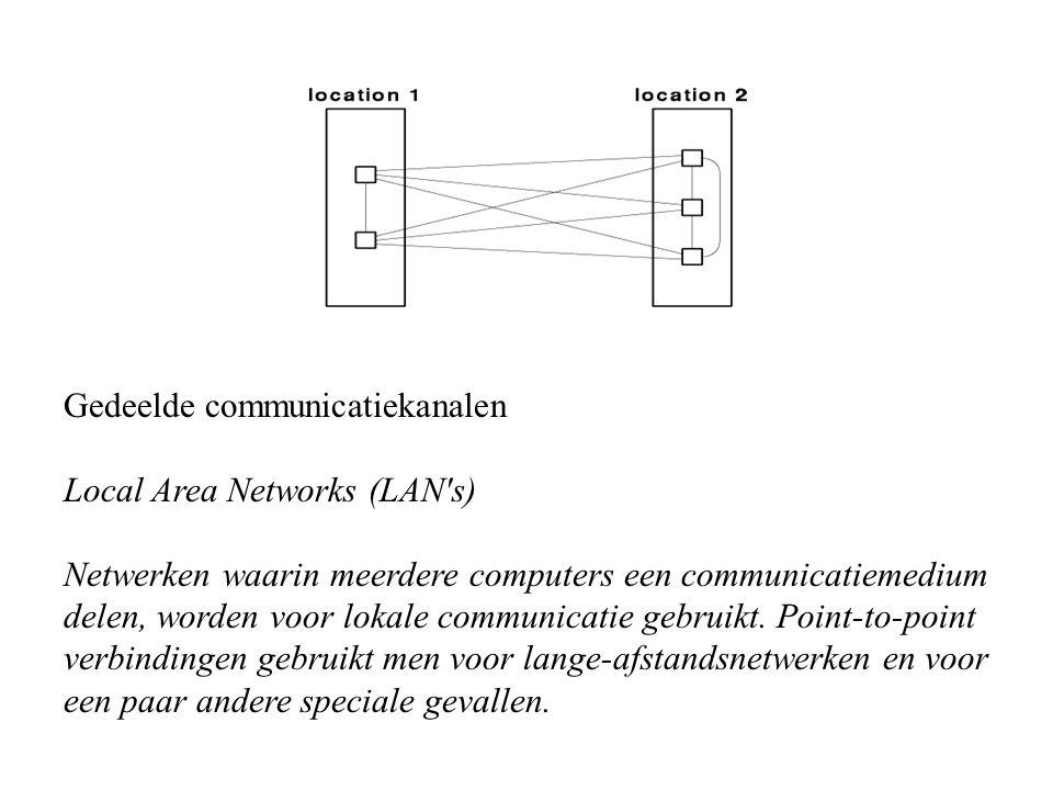 Gedeelde communicatiekanalen Local Area Networks (LAN's) Netwerken waarin meerdere computers een communicatiemedium delen, worden voor lokale communic