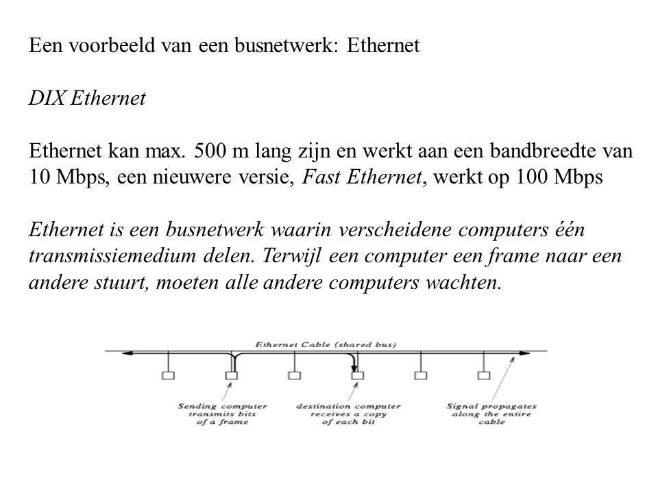 Een voorbeeld van een busnetwerk: Ethernet DIX Ethernet Ethernet kan max. 500 m lang zijn en werkt aan een bandbreedte van 10 Mbps, een nieuwere versi