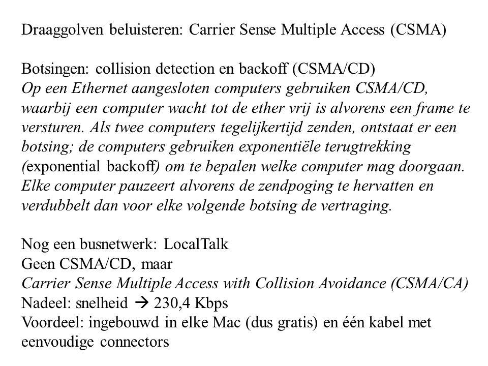 Draaggolven beluisteren: Carrier Sense Multiple Access (CSMA) Botsingen: collision detection en backoff (CSMA/CD) Op een Ethernet aangesloten computer