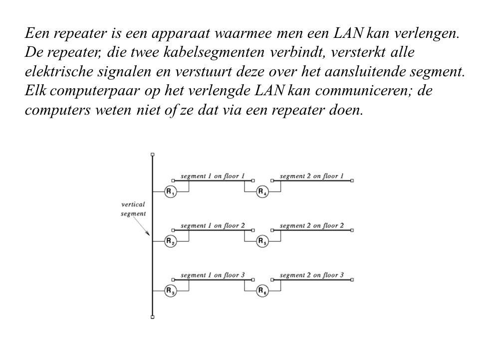 Een repeater is een apparaat waarmee men een LAN kan verlengen. De repeater, die twee kabelsegmenten verbindt, versterkt alle elektrische signalen en