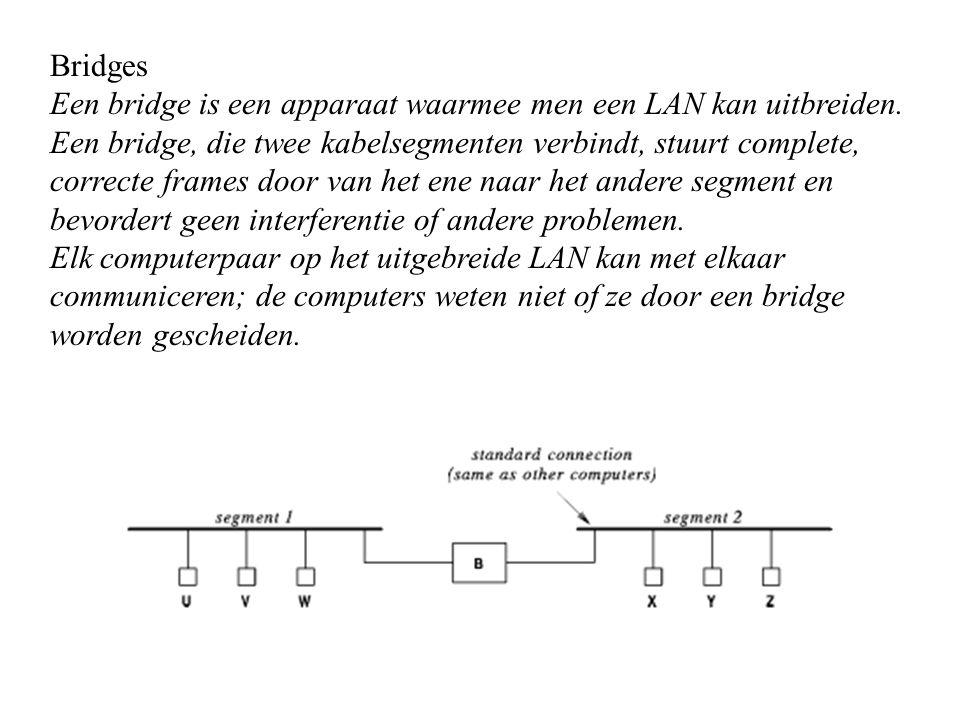 Bridges Een bridge is een apparaat waarmee men een LAN kan uitbreiden. Een bridge, die twee kabelsegmenten verbindt, stuurt complete, correcte frames