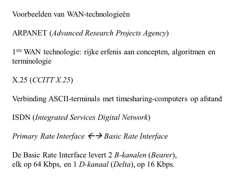 Voorbeelden van WAN-technologieën ARPANET (Advanced Research Projects Agency) 1 ste WAN technologie: rijke erfenis aan concepten, algoritmen en termin