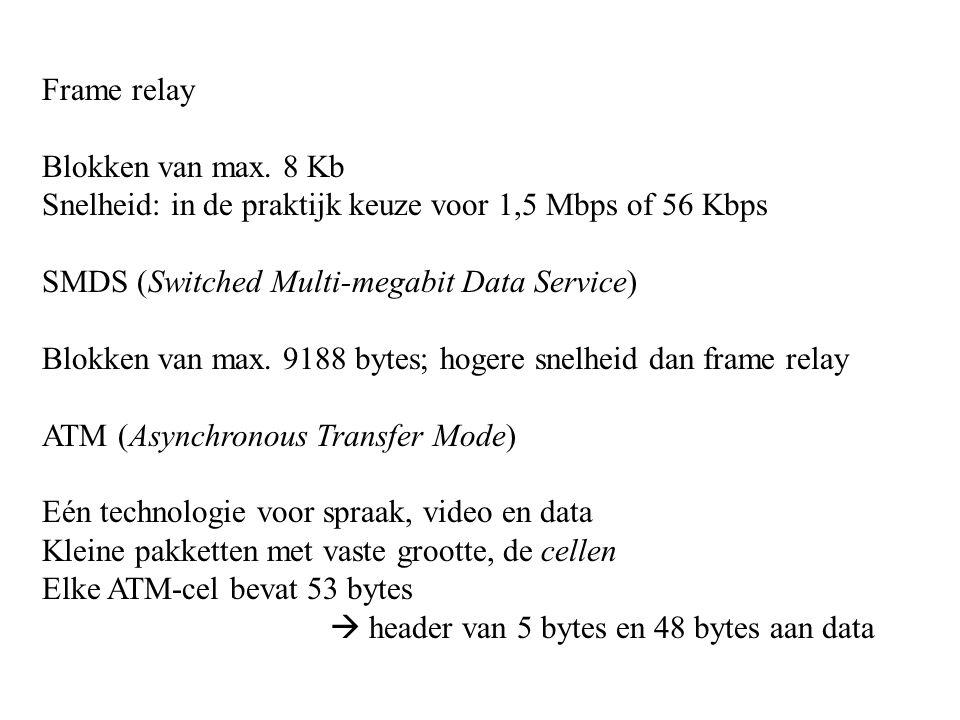 Frame relay Blokken van max. 8 Kb Snelheid: in de praktijk keuze voor 1,5 Mbps of 56 Kbps SMDS (Switched Multi-megabit Data Service) Blokken van max.