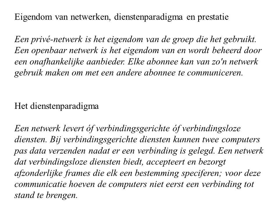 Eigendom van netwerken, dienstenparadigma en prestatie Een privé-netwerk is het eigendom van de groep die het gebruikt. Een openbaar netwerk is het ei