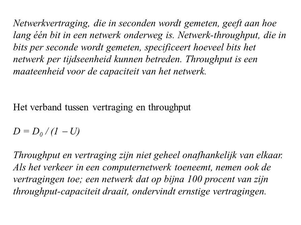 Netwerkvertraging, die in seconden wordt gemeten, geeft aan hoe lang één bit in een netwerk onderweg is. Netwerk-throughput, die in bits per seconde w