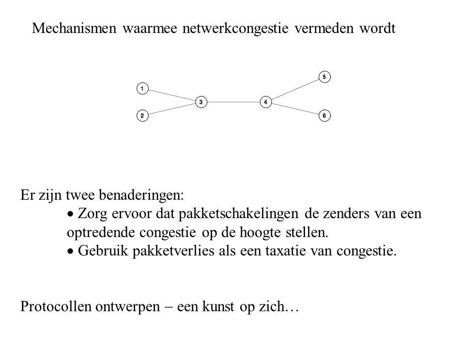 Mechanismen waarmee netwerkcongestie vermeden wordt Er zijn twee benaderingen:  Zorg ervoor dat pakketschakelingen de zenders van een optredende cong