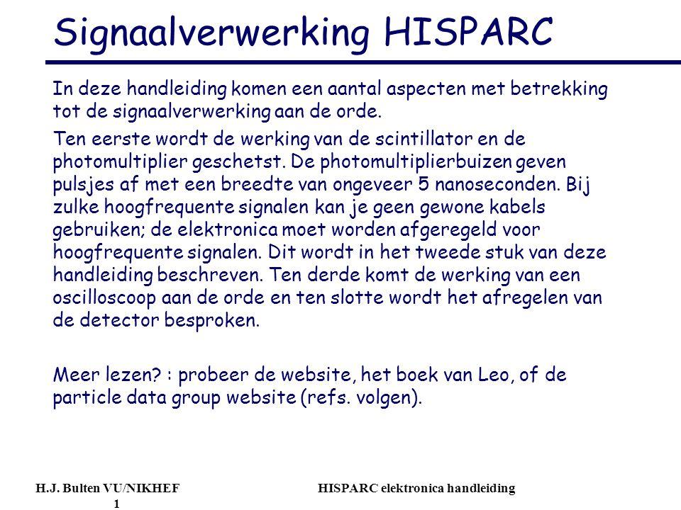 H.J. Bulten VU/NIKHEF HISPARC elektronica handleiding 1 Signaalverwerking HISPARC In deze handleiding komen een aantal aspecten met betrekking tot de