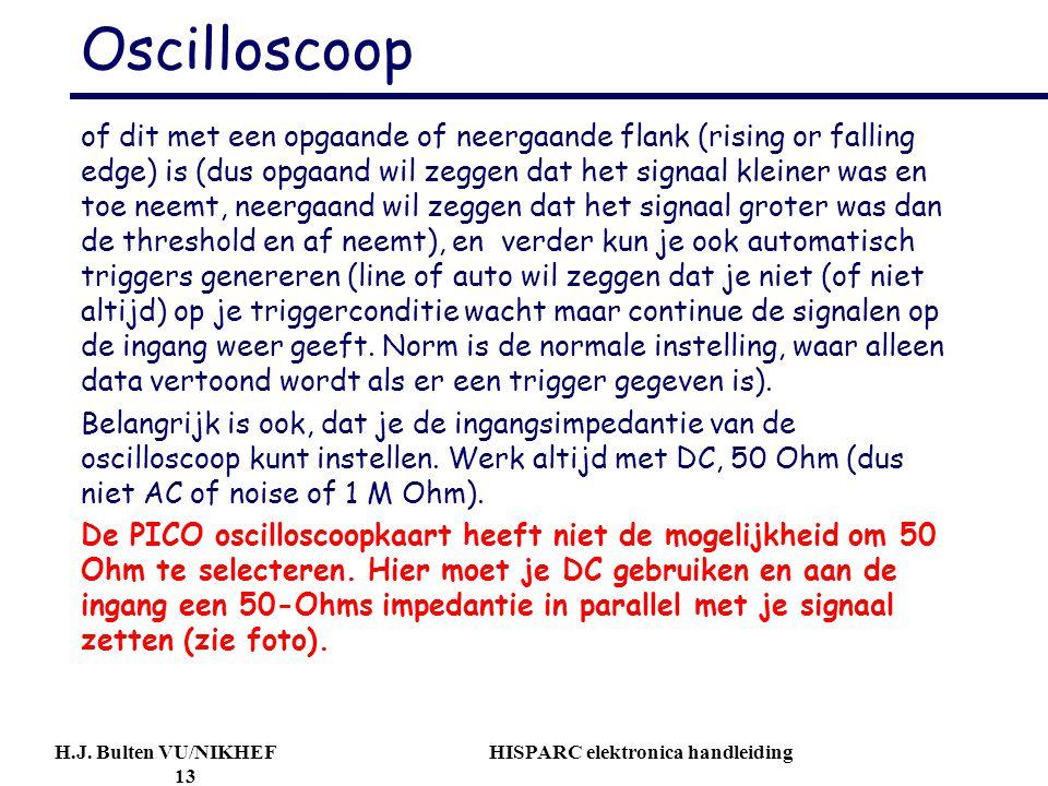 H.J. Bulten VU/NIKHEF HISPARC elektronica handleiding 13 Oscilloscoop of dit met een opgaande of neergaande flank (rising or falling edge) is (dus opg