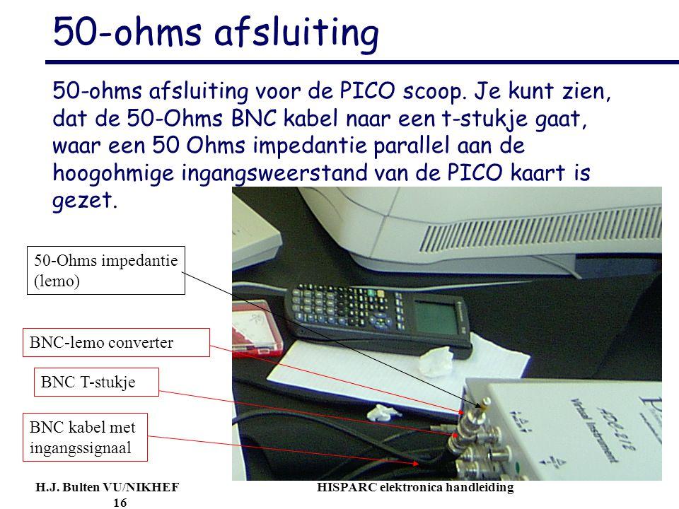 H.J. Bulten VU/NIKHEF HISPARC elektronica handleiding 16 50-ohms afsluiting 50-ohms afsluiting voor de PICO scoop. Je kunt zien, dat de 50-Ohms BNC ka