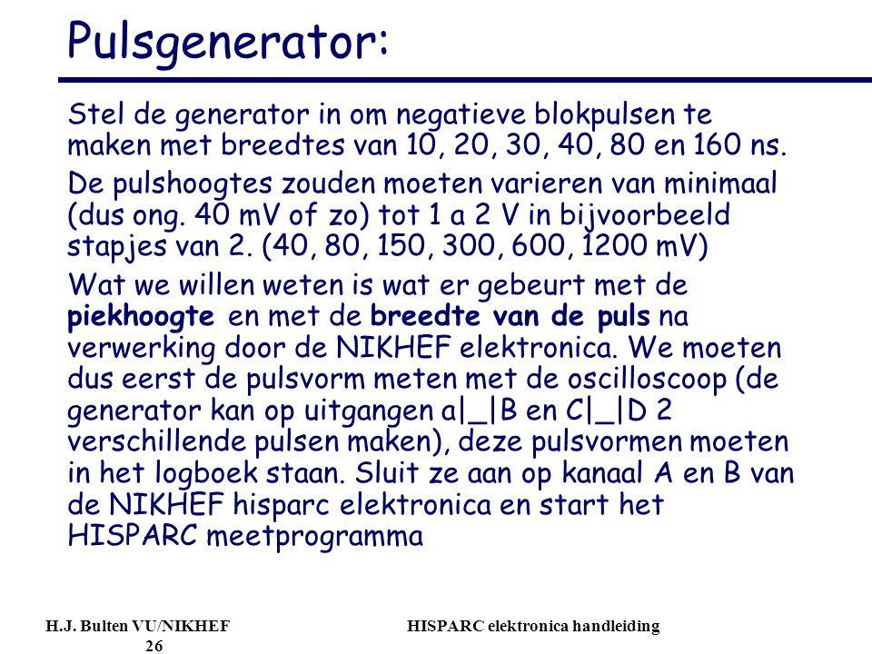 H.J. Bulten VU/NIKHEF HISPARC elektronica handleiding 26 Pulsgenerator: Stel de generator in om negatieve blokpulsen te maken met breedtes van 10, 20,