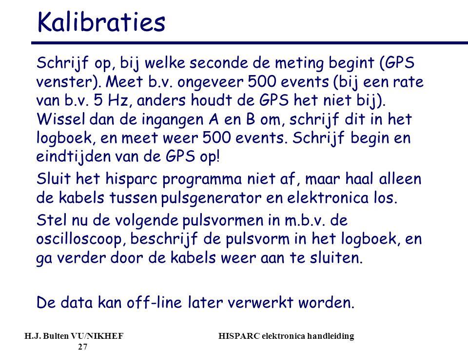 H.J. Bulten VU/NIKHEF HISPARC elektronica handleiding 27 Kalibraties Schrijf op, bij welke seconde de meting begint (GPS venster). Meet b.v. ongeveer