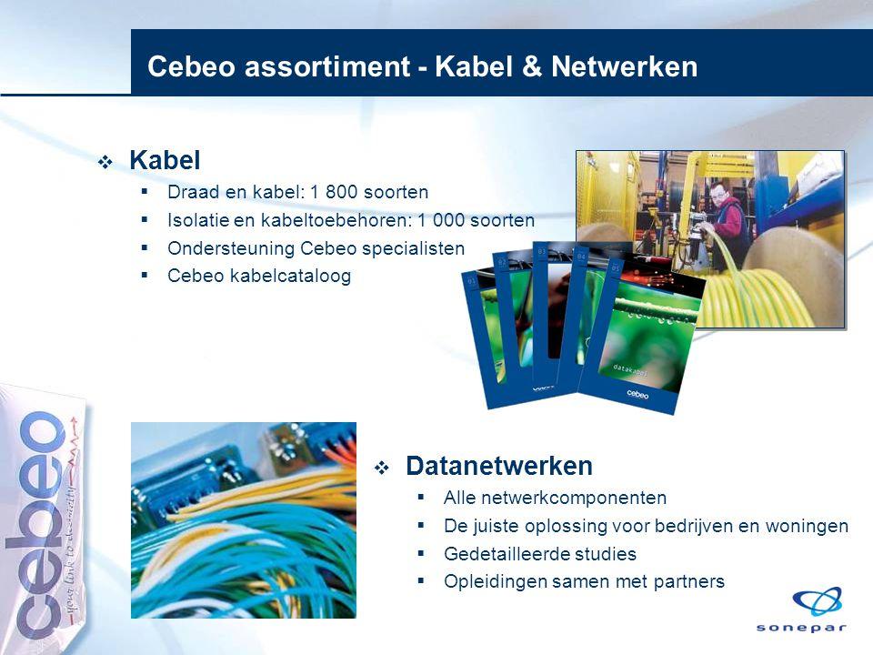 Cebeo assortiment - Kabel & Netwerken  Kabel  Draad en kabel: 1 800 soorten  Isolatie en kabeltoebehoren: 1 000 soorten  Ondersteuning Cebeo speci